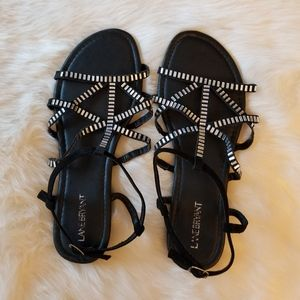 Lane Bryant Black Sandals Rhinestones 12W NEW